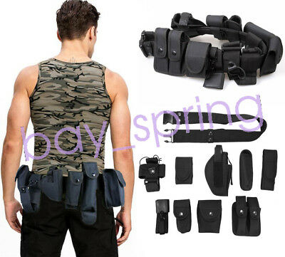 Tactical Police Security Guard  Utility Kit Belt with Pouches  Holster Outdoor