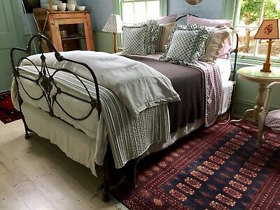 VICTORIAN IRON BED..double with matress