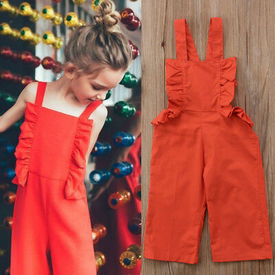 Toddler Kids Baby Girls Strap Jumpsuit Romper Bodysuit Outfits Set Clothes 1-6T
