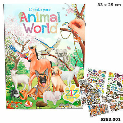 Create Your Animal World Malbuch mit Stickern, Tiermalbuch, Tiere, Depesche 5353