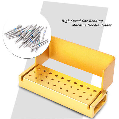 30x Dental Diamond Burs Drill + 1x Gold Disinfection Bur Block High Speed