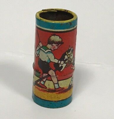RARE TIN SIREN WHISTLE TOY LITHOGRAPH CHILDREN PLAY SCENE 1930's GERMANY PRE WAR