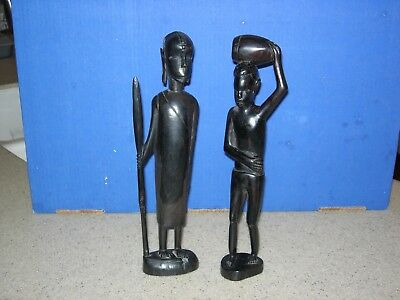 """Pair of Hand Carved Black Wooden African Figurine Statues  12"""" Tall"""
