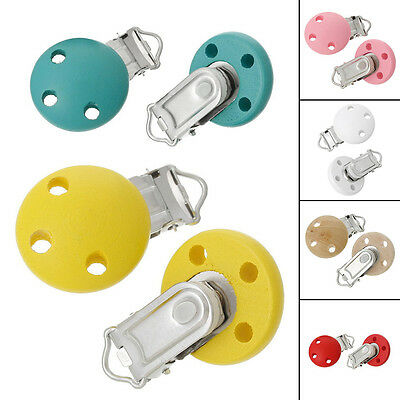 5PCS Baby Pacifier & Soother Clips Wooden 3 Holes Different Colors Teat Clips