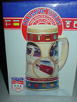 Budweiser XV OLYMPIC Winter Games Beer Stein 1988 Calgary -New in Box