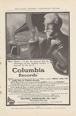 1907 Columbia Phonograph Co New York NY Ad: Columbia Disc or Cylinder Records