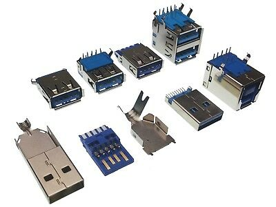 USB 3.0 Connectors - 7 Types - Male & Female Type A / Type B - Through Hole, SMD