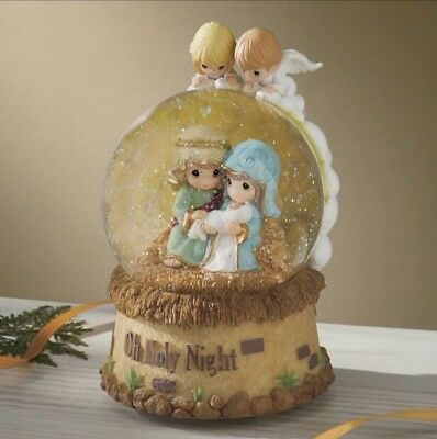 """Precious Moments """"O Holy Night"""" Musical Snow Globe. New in Box."""