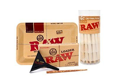 RAW Organic 1 1/4 Pre-Rolled Cones With Filter Tips Bundle 75 Pack Mini Rolling