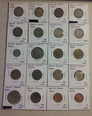 South Korea Coin Lot - (1959 to 2013) -20 Different Carded Coins - (#CWC216)