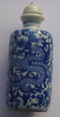 Chinese Blue & White Ceramic Dragon Snuff Bottle : Ref 222
