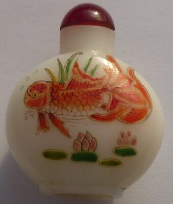 Chinese Glass Goldfish & Lotus Snuff Bottle