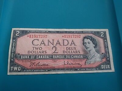 1954 Bank Of Canada 2 Two Dollar Replacement Bank Note Beattie-Rasminsky.