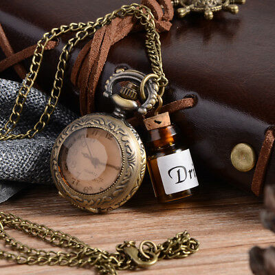 UK ALICE IN WONDERLAND DRINK ME BOTTLE POCKET WATCH Necklace Jewellery Gift Idea