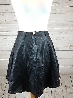15130398ae78b High Waisted Jade Croc Skater Skirt Black Leather style size XS