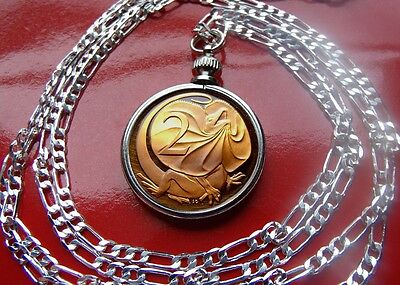 """Australia Proof Frilled Neck Lizard Coin Pendant on a 18"""" Sterling Silver Chain"""