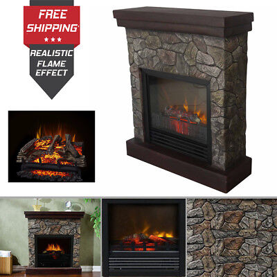 Electric Fireplace Fire Heater Warm Space Mantle Faux Stone Heating Flame Decor