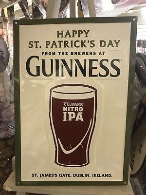 "Guinness Blonde Happy St. Patrick's Day Tin Sign Embossed NEW & F/Sh. 20"" x 14"""