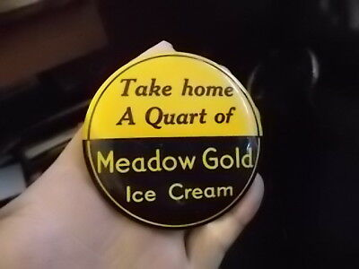 Vintage Meadow Gold Ice Cream Advertising Dairy Badge Pinback Button
