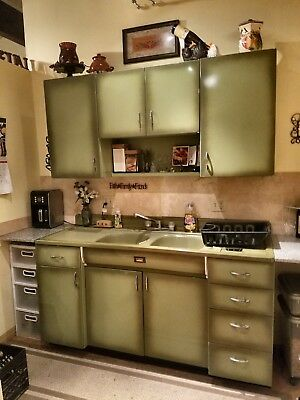 vintage Montgomery Ward Olive green, metal, kitchen sink and cabinet, antique
