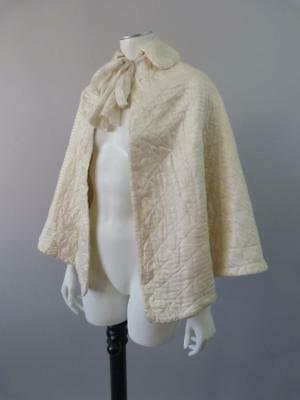 Original Victorian evening cloak  / cape in ivory quilted silk and chiffon