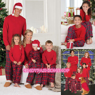 US STOCK Family Matching Christmas Pajamas Women Baby Kids Sleepwear Nightwear