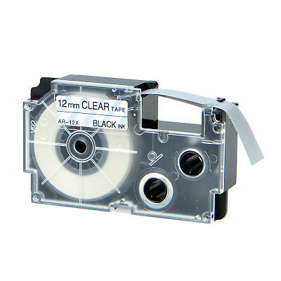 """1PK XR-12X Black on Clear Label Tape for Casio KL-60 100 7000 8200 8800 1/2"""""""