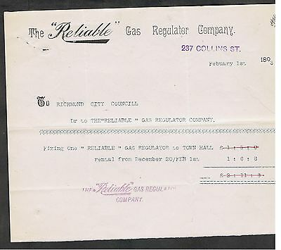 Invoice Issued In 1893 By The Reliable Gas Company In Melbourne For Services.
