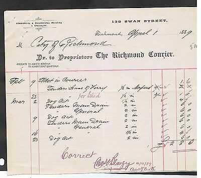 Invoice Issued In 1889 By The Richmond Courier Victoria For Goods Sold.