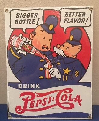Pepsi and Pete Cops - Bigger Bottle Better Flavor - Porcelain Metal Sign MINT!!