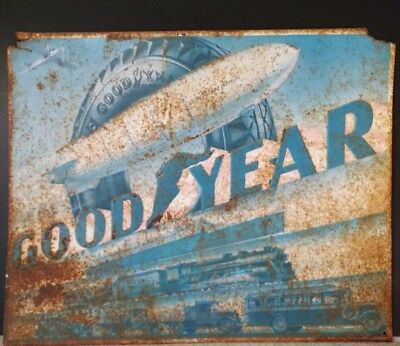*Goodyear* Vintage Metal Sign with Patina