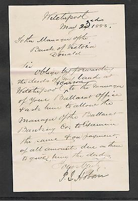 Letter Dated 1885 Written To Manager Of Donald Bank Of Victoria. J.mathieson.