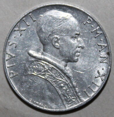 Vatican City 5 Lire Coin, 1951 XIII - KM# 51 - Pope Pius XII - One Lira Holy See