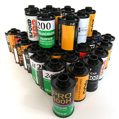 35mm film cassettes, QTY 30 Assorted empty Kodak, Fuji, Ilford and more