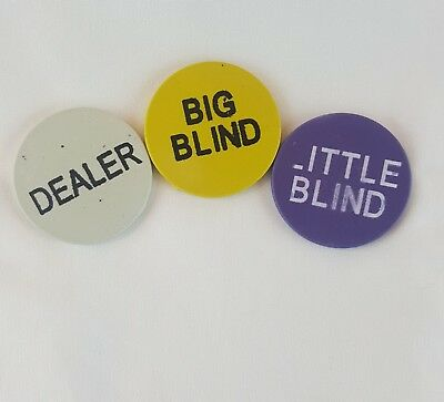 Betting Chips Big Blind Little Blind Dealer Chips Quantity of 3