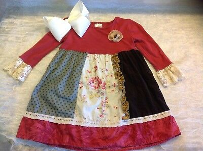 Persnickety Holiday Dress + Large Hair Bow Size 4