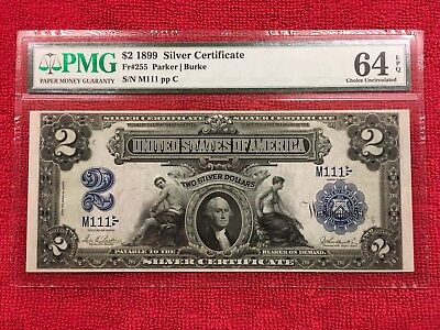 Fr. 255 2 Dollar 1899 Silver Certificate SOLID 1'S PMG 64 EPQ