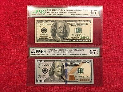 Fr. 2182-B & Fr. 2187-F 100 Dollar FRN Matching Repeaters PMG 67 EPQ'S Sup Gems