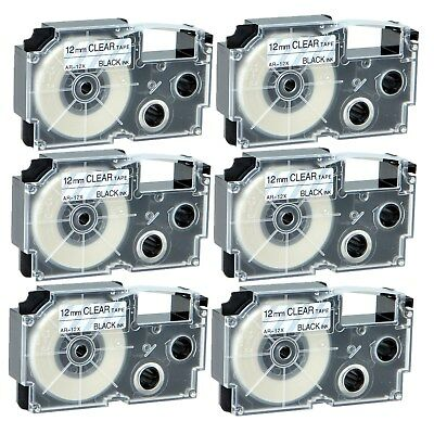"""6PK XR-12X Black on Clear Label Tape for Casio KL-60 100 7000 8200 8800 1/2"""""""