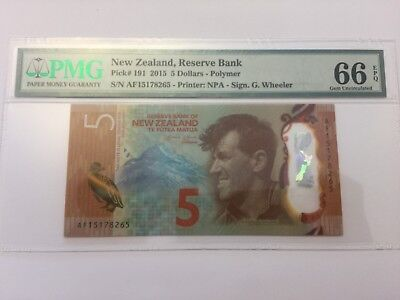 New Zealand 2015 P-191 PMG Gem UNC66 EPQ 5 Dollars IBNS Banknote of the Year#N14