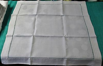 Spectacular Tablecloth & 12 Lapkin Set A T Monograms Moon & Star Pattern Unused