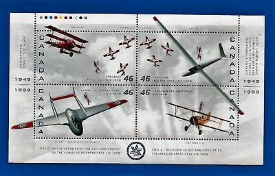 MNH CANADA Canadian AIR SHOW 50th anniversary AIRPLANES stamps souvenir sheet