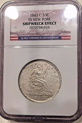 Ss New York  Ssny 1843 O Seated Liberty Half Dollar Ngc Shipwreck Effect Coin