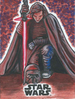 2017 Topps Star Wars The Last Jedi Sketch Card Kylo Ren By Ronnie Crowther