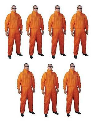 Asbestos Removal Rated Orange Disposable Overalls | Type 5/6 | 7 Pair Bundle