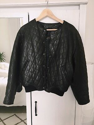 Vintage Leather Bomber Jacket Quilted