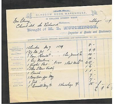 Invoice Issued In 1889 By M.l.hutchinson Melbourne Importer.