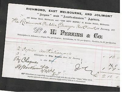 Invoice Issued In 1888 By H.perkins & Co. To Richmond Library (Vic).