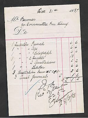 Invoice Issued In 1887 To Mr.farmer For Items Sold. Signed.