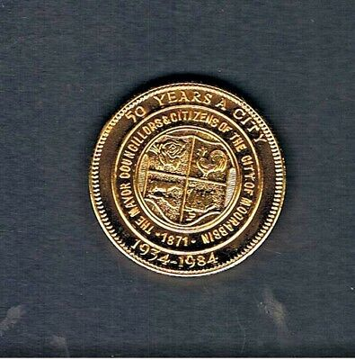Gold Plated 1984 City Of Moorabbin 50 Years As A City Medallion.